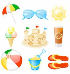 icon set vacations vector image