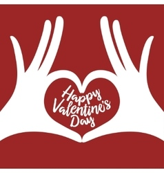 Valentine day lettering background with hands in vector