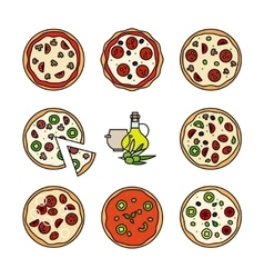 Different pizza line icons vector image