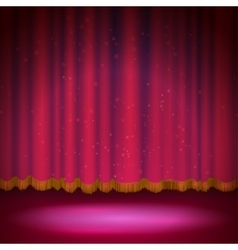 Spotlight on red stage curtain vector
