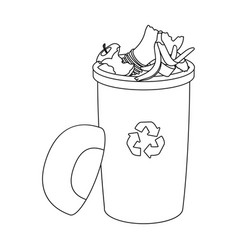 A full garbage can with waste rubbish and ecology vector
