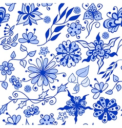 Abstract seamless doodle blue flovers pattern vector image