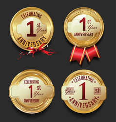 Anniversary retro golden labels collection 1 year vector
