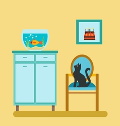 Aquarium on shelf and cat on the stool vector