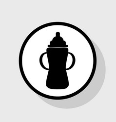 Baby bottle sign flat black icon in white vector
