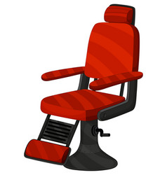 Barber chair in red color vector