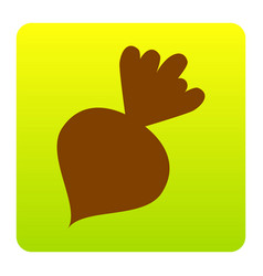 Beet simple sign brown icon at green vector