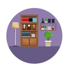 Bookshelf encyclopedia award clock shelf telephone vector