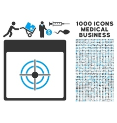 Bullseye calendar page icon with 1000 medical vector