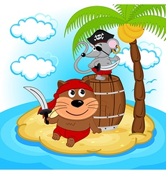 cat mouse pirate vector image
