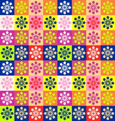 cheerful Background with squares and flowers vector image vector image