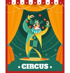 Circus clown juggling performance poster vector