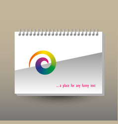 Cover of diary or notebook with rainbow spiral vector