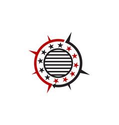 Emblem star ribbon circle vector