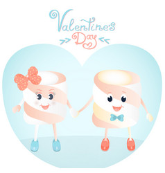 funny marshmallows greeting cards for valentines vector image