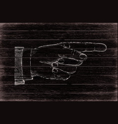 Hand with pointing finger retro styled vector