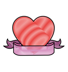 Heart with decorative ribbon icon vector