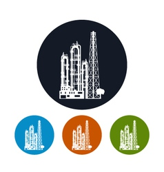 Icon of a chemical plant or refinery processing vector