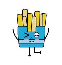 Kawaii cute funny fries french food vector