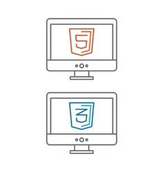 Line of web development icons html vector