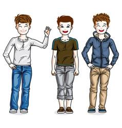 little boys cute children standing wearing vector image vector image