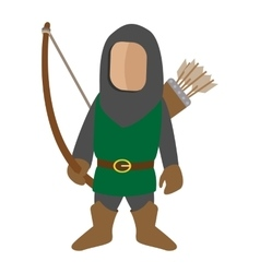 Medieval character archer cartoon icon vector