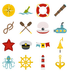 nautical icons set in flat style vector image vector image