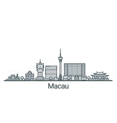 outline macau banner vector image vector image