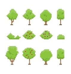 Pixel art trees collection isolated on white vector image
