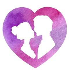 Profile silhouettes of man and woman watercolor vector image