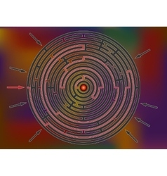 Reaching the goal in labyrinth colorful rainbow vector image