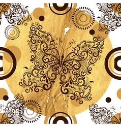 Seamless pattern with vintage openwork butterflies vector image vector image