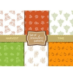 Set of seamless duotone harvest patterns vector