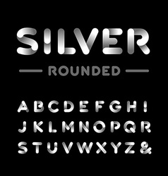 Silver rounded font alphabet with chrome effect vector image vector image