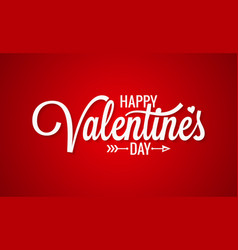 valentines day vintage lettering on red background vector image vector image