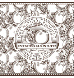 vintage pomegranate label on seamless pattern vector image vector image