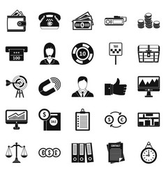 working quarter icons set simple style vector image vector image