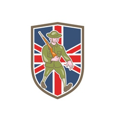 World War One Soldier British Marching Cartoon vector image vector image