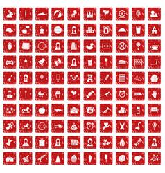 100 child center icons set grunge red vector