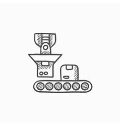 Robotic packaging sketch icon vector