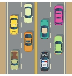 Highway traffic with top view cars and trucks vector
