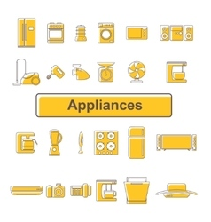 Line icons of home appliances 24 units vector image