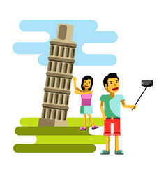 Leaning tower in pisa italy summer vacation travel vector
