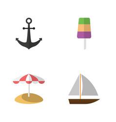 flat beach set of yacht sundae ship hook and vector image