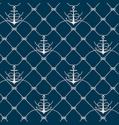 Nautical rope seamless fishnet and anchors pattern vector