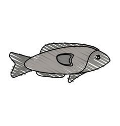 Color crayon stripe fish aquatic animal vector