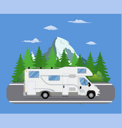 Road travel trailer driving on forest area road vector