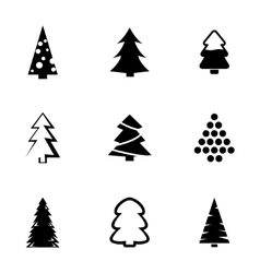 Black christmas tree icons set vector