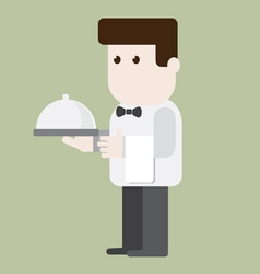 Waiter character ready to served vector