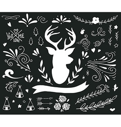 Hand drawn vintage set with a reindeer and vector